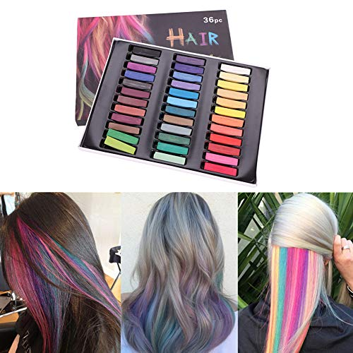 Haarkreide 36 Farben Hair Chalk Temporäre Haarfarbe Halloween Fasching Party Haarfärbemittel Auswaschbar DIY Kreidestifte Colorationen für Geburtstag Geschenk Weihnachten - Hair Musical Kostüm