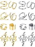 8 Paires non Piercing en Acier Inoxydable Ear Cuff Set Cartilage Boucles d'Oreilles...