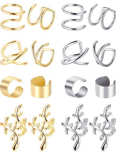 8 paia non piercing acciaio inossidabile polsino dell'orecchio clip del polsino della cartilagine sugli orecchini per donne (acciaio e oro)