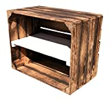 Geflammte Vintage Obstkiste mit Weißem Mittelbrett 50x40x30cm Bücherregal/Schuhregalkiste Regalkiste Kistenregal Schuhschrank Apfelkiste/Weinkiste (1)