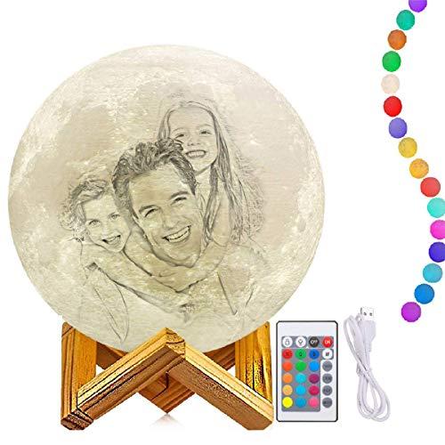 Lampe Lune 3D 16 Couleurs Télécommande Tactile USB Rechargeable Veilleuse avec Support en Bois lampe de décoration pour Noël Tout Festival meilleurs cadeaux Kid chambre décor lumières(3.5 inch/9cm)