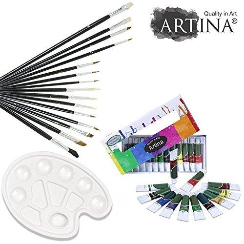 Artina® Malset mit 12 Acrylfarben - inkl. 15-teiligem Pinselset und stabiler Mischpalette