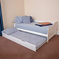 Wido WHITE WOODEN BED 3FT SINGLE DAY BED WITH PULL OUT UNDER BED MATTRESS UNDER TRUNDLE