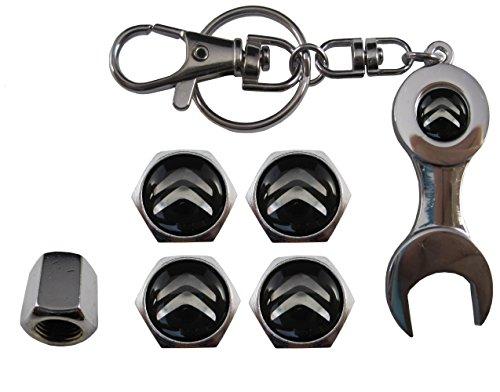 Valvulas de acero inoxidable para coche + llavero apreta tuercas Citroen aut011-26
