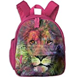 Lovely Schoolbag Colorful Lion Design Double Zipper Waterproof Children Schoolbag Backpacks with Front Pockets for Youth Boy Girls