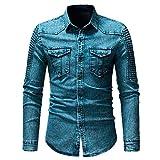 MRULIC Herren Herbst Shell Button Shirt mit Tasche Langarmshirts(Blau,EU-50/CN-2XL)
