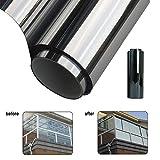 PUAK523Argento Riflettente Finestra Film, Solare Riflettente & da Vetro per Privacy Tint–One Way Mirror Isolamento Adesivi, Sun Control Solar Window Films, Come da Immagine, 2m*40cm