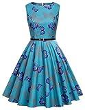 Damen blumenkleid elegant rockabilly kleid 50er jahre kleid petticoat kleid M CL6086-58