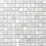 Perlmutt Mosaik Fliesen Fluss Bett natur Pearl Shell Mosaik Quadratisch Weiß 25mm