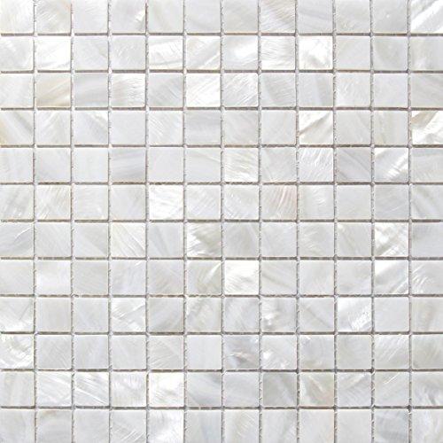 Perlmutt Mosaik Fliesen Fluss Bett natur Pearl Shell Mosaik Quadratisch Weiß 25mm -