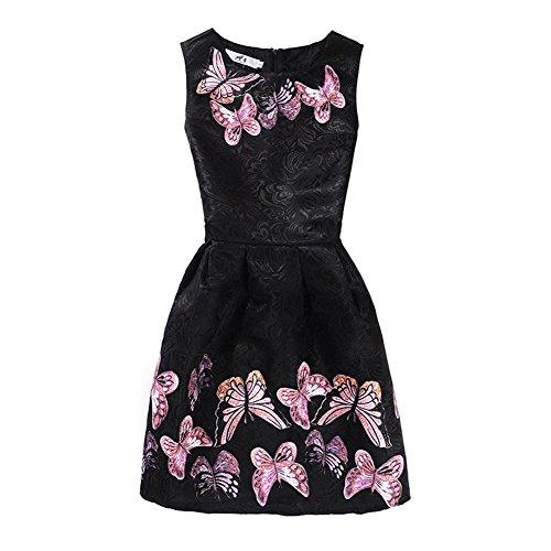 Mädchen Kleid Damen IHRKleid® Süß Tochter Mama Kein Ärmel Kleid Schmetterling Drucken Mode Self-Anbau Kleid (Mutter: M (Asien Größe), Style 10)