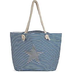 styleBREAKER bolso para la playa XXL en óptica a rayas con estampado de estrella y cremallera, bolso para compras, bolso de baño, señora 02012165, color:Azul-blanco / Plateado