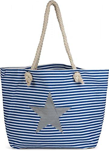styleBREAKER Strandtasche XXL in Streifen Optik mit Stern Print und Reißverschluss, Shopper, Badetasche, Damen 02012165, Farbe:Blau-Weiß / Silber Blau-Weiß / Silber