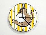 Cute Mouse - Baby Nursery Kids Room - Custom Name Wall Clock - Yellow