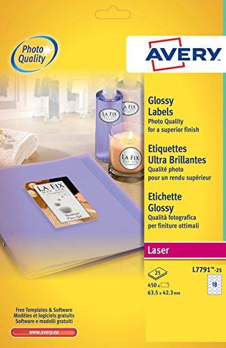 Avery L7791-25 Etichette Lucide, Ovali, 18 Etichette per Foglio, 25 Fogli, 63.5 x 42.3