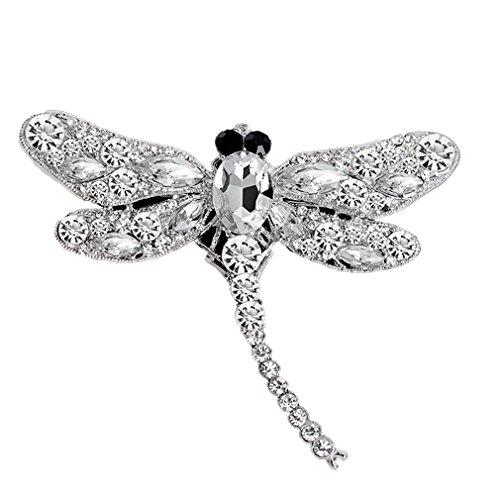 Yazilind Exquisite Libelle eingelegte Rhinestones Alloy Brosche Corsage Frauen Mädchen Zubehör (weiß)