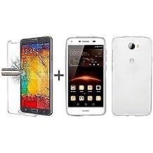 TBOC® Pack: Funda de Gel TPU Transparente + Protector Pantalla Vidrio Templado para Huawei Y6 II Compact - Y6II Compact - Y6 2 Compact (5.0 Pulgadas). Funda de Silicona Ultrafina y Flexible. Protector de pantalla Resistente a Golpes, Caídas y Arañazos. (No es compatible con el Huawei Y6II de 5.5 Pulgadas)