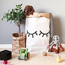 gwell habitación de los Niños Papel Saco–Cesto Papel de estraza Bolsa Juguete Cubo de basura Bolsa de papel Paper Bag Blanco Marrón Augenwimper