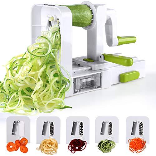 Sedhoom Espiralizador de Vegetales Cortador de Verduras de 5 Cuchillas,Doblado Espiralizador de verduras...