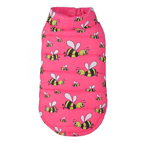 Hunde Sandy Kostüm - Lightclub Fashion Cute Bee Doppelseitig Pet Dog Puppy Warm Coat Outfit Kleidung Bekleidung, L, Rose