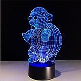 Lh&Fh Lumière de nuit de la télécommande 3D de tortue avec 5 couleurs changent la lampe visuelle de Bluetooth de contact visuel de LED