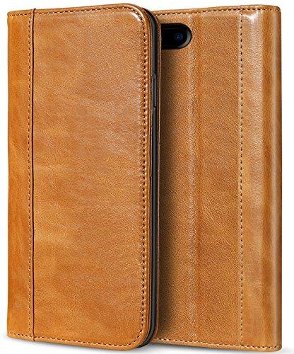 Apple iPhone 8 Plus Echtes Leder Hülle, ProCase Vintage Geldbörse Falten Flip Case mit Kickstand und Kartensteckplätze Magnetverschluss Schutzhülle für Apple iPhone 8 Plus/iPhone 7 Plus -Braun - Apple Iphone Holster
