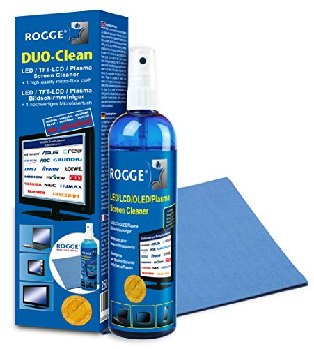 ROGGE DUO CLean Original, 250ml LCD/TFT+Plasma Reiniger+1 Prof.Microfasertuch Duo Laptop Notebook