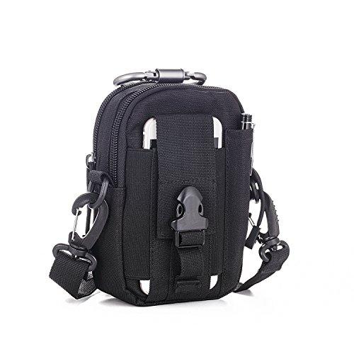 LUZWAY Taktische Hüfttaschen Molle Tasche Gürteltasche 1000D mit verstellbarem Schultergurt(150cm), Hüfttasche Beintasche Multifunktionstasche mit Aluminium Karabiner [Schwarz]