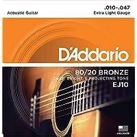 D'Addario EJ10 - Juego de cuerdas para guitarra acústica de bronce, 010' - 047'