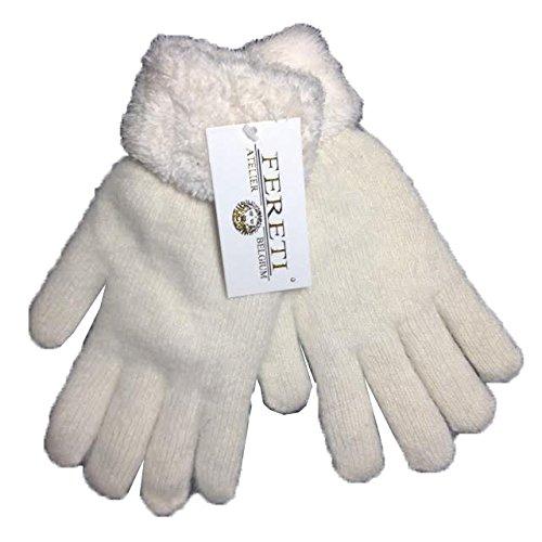 FERETI Guanti da donna Angora coniglio Beige donne inverno caldo maglia di lana fiocco guanti scaldamani pelliccia