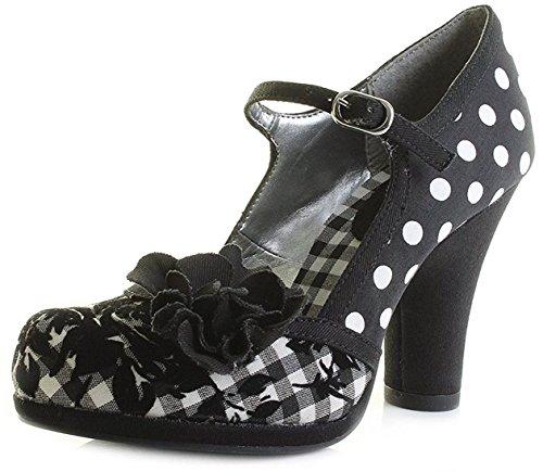 Ruby Shoo Damen Schuhe Hannah Punkte Pepitamuster Pumps Schwarz Geschlossen 38