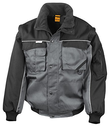 RT71 Workguard Heavy Duty Jacke Arbeitsjacke winddicht wasserabweisend, Farbe:Grey-Black  by Result WORK-GUARD
