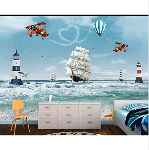 Zybnb Tapeten Moderne Fototapete Kinder 3D Cartoon Ozean Sea Boat Hubschrauber Nordischen Stil Für Schlafzimmer Kinderzimmer (450 3d Hubschrauber)