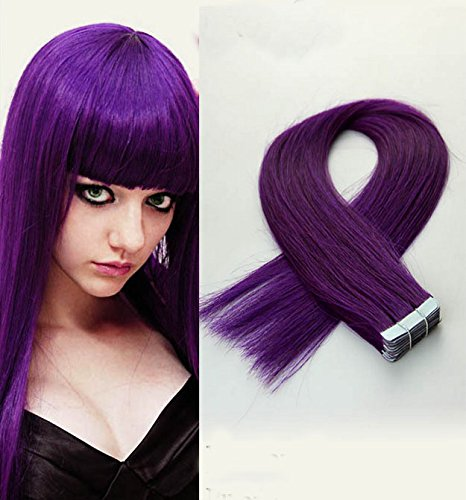 20 Tressen Tape in Extensions Echthaar Tape on Haarverlaengerung Hochwertige Remy Haare 20''(50cm ) Farbe: Lila (Lila Echthaar Extensions)