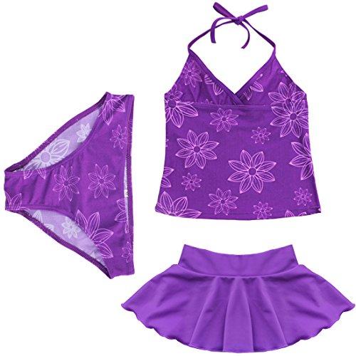 iEFiEL Mädchen Badeanzug 3tlg. Bikini Badeset Schwimmanzug Neckholder Tankini Outfits 92-164 (128-140, Lila)