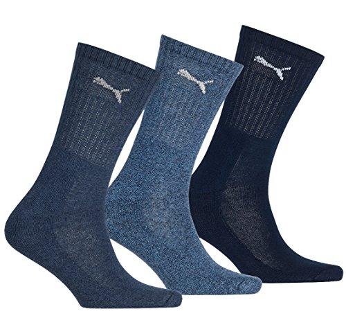 Mens & Ladies 3 Paar Puma-Socken in 3 Farben - 14.12 Unisex - Navy (Drei Herren-socken)