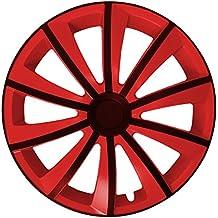 (Farbe & Größe wählbar) 4er Set 15 Zoll G-BIC Schwarz-Rot Radkappen Radzierblenden Radabdeckungen (universal)