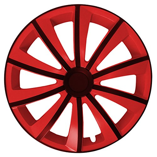 Eight Tec Handelsagentur (Farbe & Größe wählbar) 4er Set 15 Zoll G-Bic Schwarz-Rot Radkappen Radzierblenden Radabdeckungen (Universal) - Rote Schwarze Felgen Und