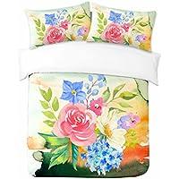 Adam Home 3D Digital Printing Bett Leinen Bettwäsche-Set Bettbezug + 2x Kissenbezug - Pink & Purple Flowers (Alle Größen)