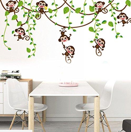 Wandtattoo Sticker Affe Monkey Kinderzimmer Jungle Schlingpflanzen Neu(3E-5)