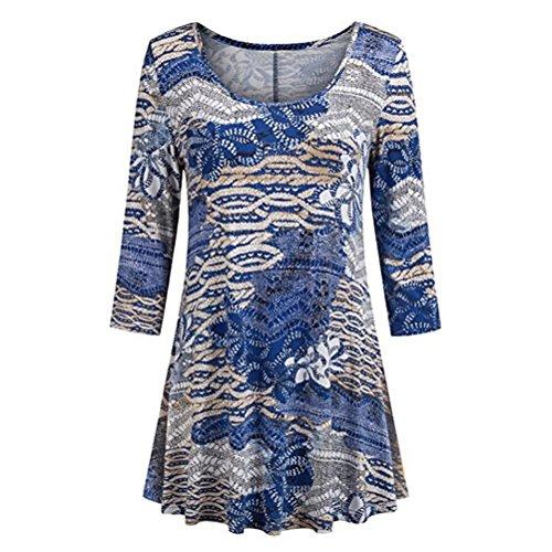 TUDUZ Damen 3/4 Ärmel Langarm Blumendruck T-Shirt Casual O-Ausschnitt Oberteile Tunika Hemd (Capri Pants Floral Cropped)