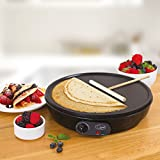 Quest 35540 Traditional Electric Pancake & Crepe Maker 12 Hot Plate and Utensils, 1000W,