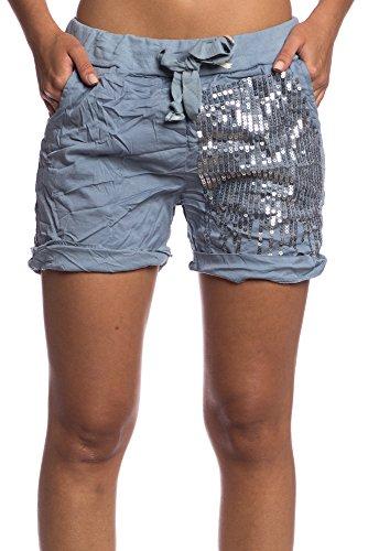 Abbino IG001 Pantaloncini Donne Ragazze - Made in Italy - Multiplo Colori - Transizione Autunno Inverno Tempo Libero Moda Semplici Caldo Elegante Delicato Casuale Comodo Rilassato Attraente Blu (Art. 1516)