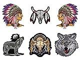 Indianer Wolf Aufnäher 6 Stück Bügelbild Patch