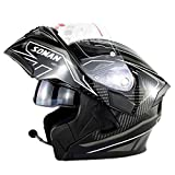 JAYE Motorradhelm, Outdoor-Reiten Doppel-Lens-Open-Face Helm Bluetooth Headset Listen to Music, Antwort The Phone,White,XXL