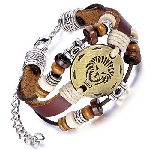 Feilok Elegant 12 Sternbild Löwe Unisex Verstellbar Armbänder Armband Legierung Leder Beads Seil Armkette Armreif, Farbe: Braun
