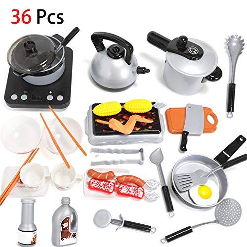 lymty 36PCS Küche vorgeben Spielen Spielzeug für Kinder Kleinkinder, Kochgeschirr Set Spielzeug mit Töpfen Pfannen Lebensmittel, Kochen Playset Spielzeug für Kinder, Kleinkind