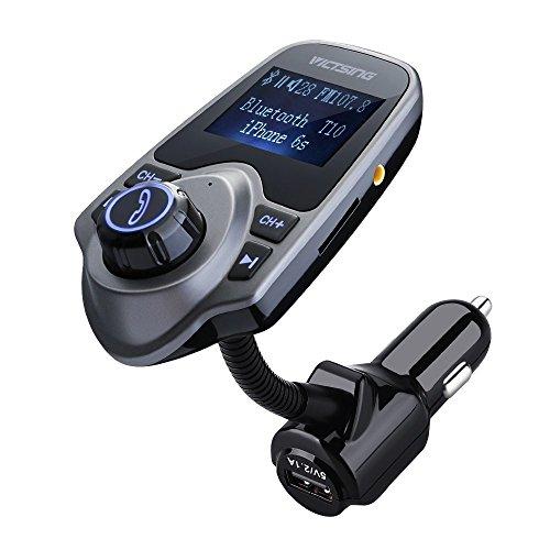 Trasmettitore FM VicTsing Bluetooth Wireless Caricattore USB per Auto Car Kit con 3.5mm Porta Audio, Slot per Scheda di TF, Schermo di 3,6cm, Nero