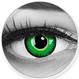 Lenti a contatto colorate Green Werewolf in verde + contenitore - Funnylens marchio di qualità, 1 paia (2 pezzi