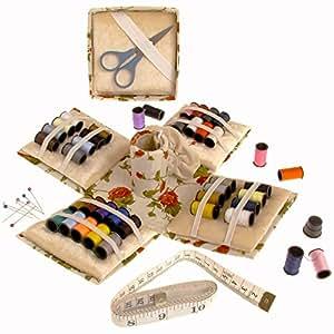 Needlework Kit / 70 pezzi Sewing Set - Cube pieghevole con 40 rocchetti di filo di cotone, aghi, spilli, nastro di misura, forbici